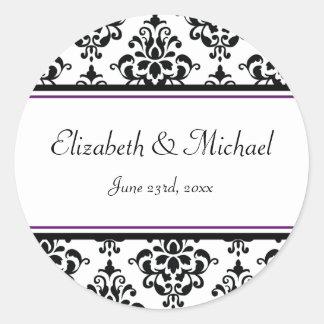 Étiquette rond de faveur de mariage de damassé sticker rond