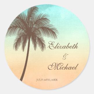 Étiquette rond de faveur de mariage de palmier sticker rond