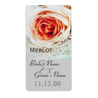 Étiquette rose de bouteille de vin de mariage de