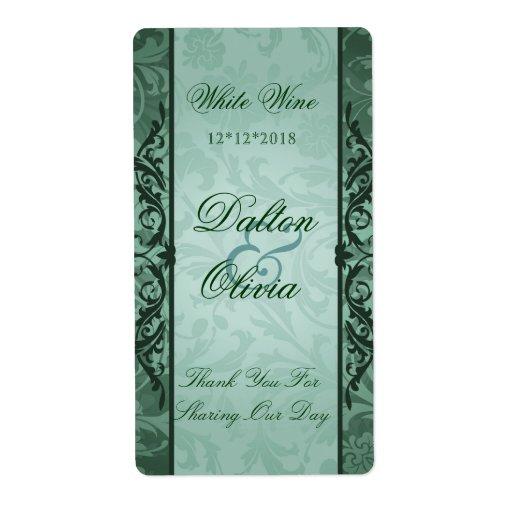 Étiquette sage de vin de mariage de brocard heureu étiquettes d'expédition