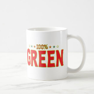 Étiquette verte d'étoile mugs