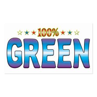 Étiquette verte v2 d'étoile modèles de cartes de visite