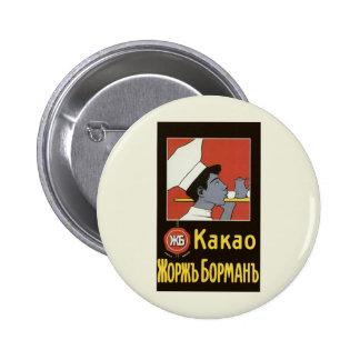 Étiquette vintage de produit, chocolat chaud russe macaron rond 5 cm