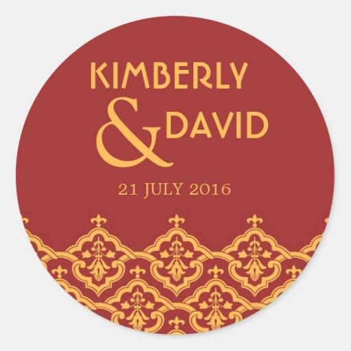 Étiquette vintage rouge et jaune de mariage autocollant rond