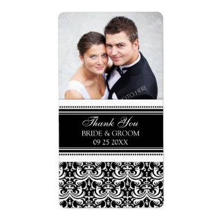 Étiquettes blancs noirs de mariage de photo de dam étiquette d'expédition