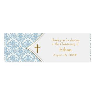Étiquettes bleues de Bomboniere de croix d or de d Cartes De Visite Personnelles