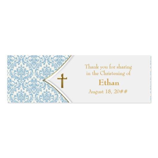 Étiquettes bleues de Bomboniere de croix d'or de d Cartes De Visite Personnelles