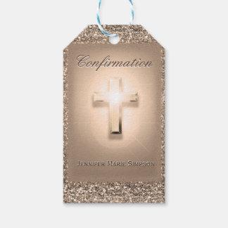 Étiquettes-cadeau Confirmation avec la croix rougeoyante