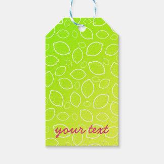 Étiquettes-cadeau motif jaune vert frais de citron d'été girly