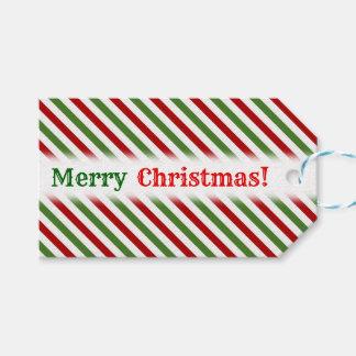 Étiquettes-cadeau Noël ; Motif rayé rouge, blanc et vert