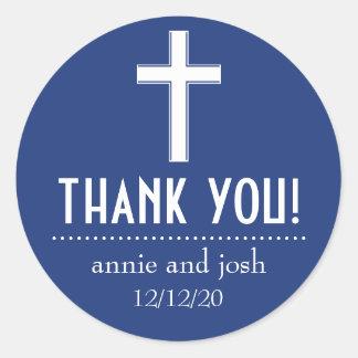 Étiquettes croisés religieux de Merci Sticker Rond