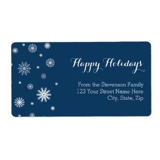 Étiquettes de adresse bleus de Noël de flocons de Étiquette D'expédition