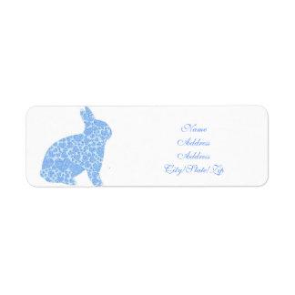 Étiquettes de adresse bleus de retour de lapin