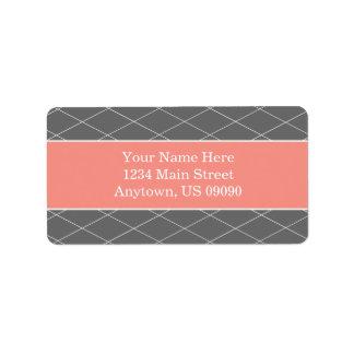 Étiquettes de adresse d arrière - plan de diamant étiquettes d'adresse