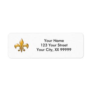 Étiquettes de adresse de Gold Fleur de Lis Étiquettes D'adresse Retour
