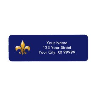 Étiquettes de adresse de Gold Fleur de Lis Return Étiquettes D'adresse Retour