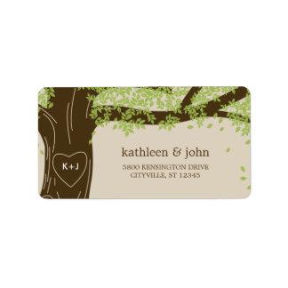Étiquettes de adresse de mariage de chêne étiquettes d'adresse