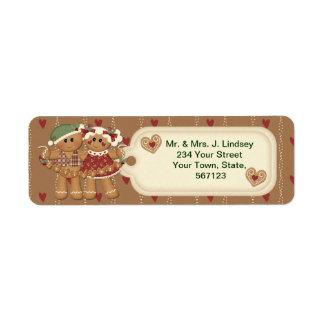 Étiquettes de adresse de Noël de pain d'épice Étiquette D'adresse Retour