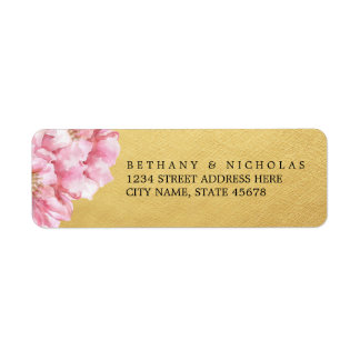 Étiquettes de adresse de retour chics floraux/or