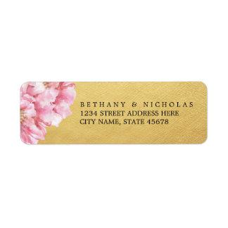 Étiquettes de adresse de retour chics floraux/or étiquette d'adresse retour