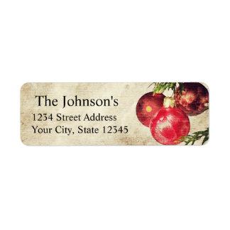 Étiquettes de adresse de retour d'ampoules de Noël Étiquette D'adresse Retour