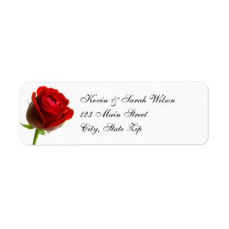 Étiquettes de adresse de retour de rose rouge étiquettes d'adresse retour