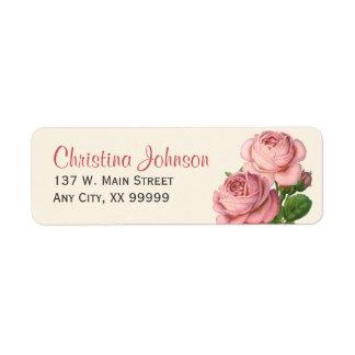 Étiquettes de adresse de retour floraux de roses étiquette d'adresse retour