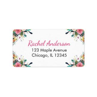 Étiquettes de adresse de retour floraux, fleurs