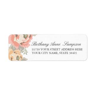 Étiquettes de adresse de retour floraux vintages étiquette d'adresse retour