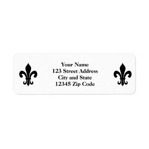 Étiquettes de adresse de retour noirs de fleur de  étiquette d'adresse retour