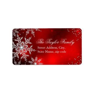 Étiquettes de adresse en cristal rouges de Noël de Étiquette D'adresse