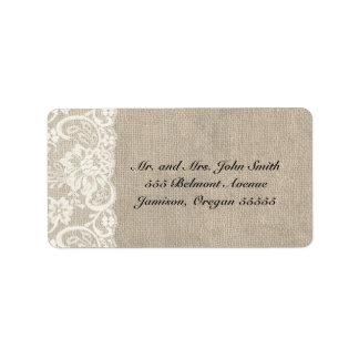 Étiquettes de adresse ens ivoire de dentelle et de étiquette d'adresse