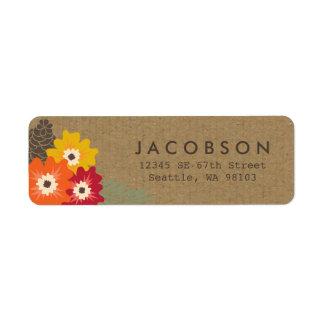Étiquettes de adresse floraux vintages de Papier d Étiquettes D'adresse Retour
