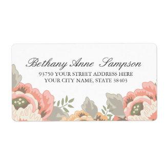 Étiquettes de adresse floraux vintages étiquette d'expédition