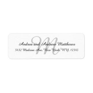 Étiquettes de adresse gris de retour de monogramme