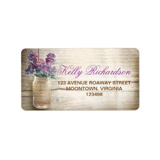 étiquettes de adresse pourpres rustiques de lilas étiquette d'adresse