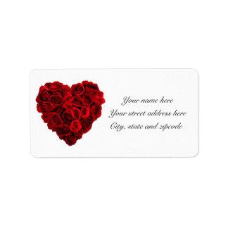 Étiquettes de adresse roses de coeur