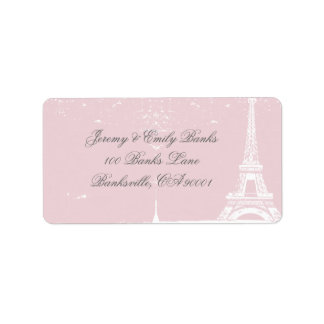 Étiquettes de adresse roses de Tour Eiffel Étiquette D'adresse