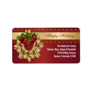 Étiquettes de adresse rouges de Noël de Bells de h Étiquette D'adresse