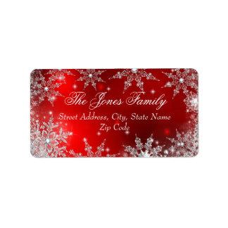 Étiquettes de adresse rouges de Noël du pays des Étiquette D'adresse