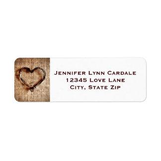 Étiquettes de adresse rustiques de coeur de ficell étiquettes d'adresse retour