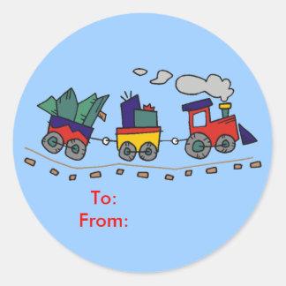 Étiquettes de cadeau de train de Noël Autocollants