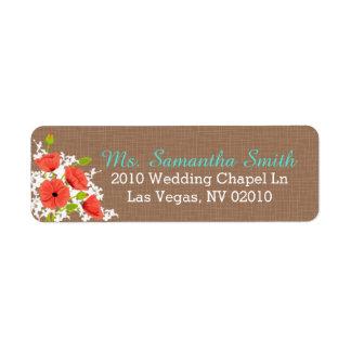 Étiquettes de corail de mariage de bouquet de étiquette d'adresse retour