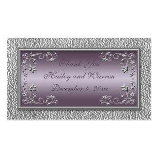 Étiquettes de faveur de mariage de prune et d étai carte de visite