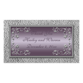 Étiquettes de faveur de mariage de prune et d'étai carte de visite