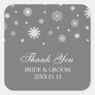 Étiquettes de faveur de mariage d'hiver de Merci Stickers Carrés