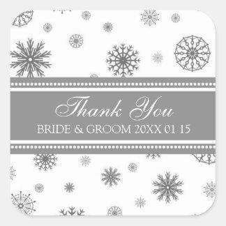 Étiquettes de faveur de mariage d'hiver de Merci Autocollant Carré