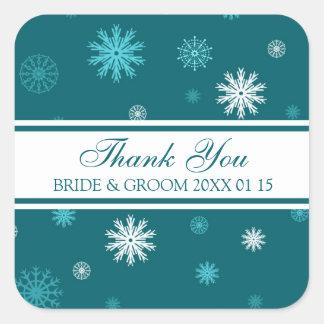 Étiquettes de faveur de mariage d'hiver de Merci Autocollants Carrés