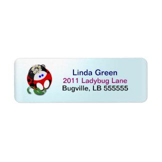 Étiquettes de Ladybugette Étiquette D'adresse Retour