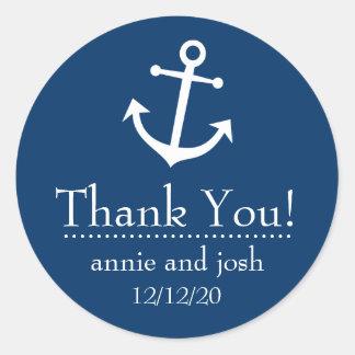 Étiquettes de Merci d'ancre de bateau (bleu-foncé) Adhésifs